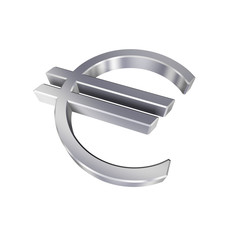 Chrome Euro sign isolated on white - 3D photo rendering.