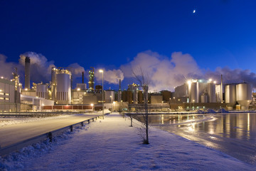Paper Mill in Winter Night