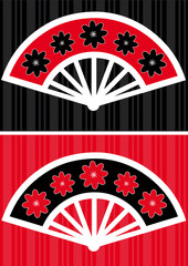 Asian fan in two composition colors.