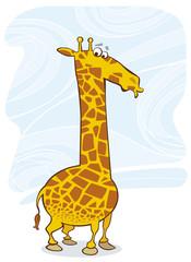 Illustration of funny surprised giraffe