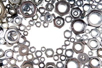Assorted steel nuts