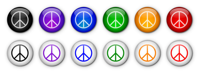 Peace & Love Buttons (rainbow colours)