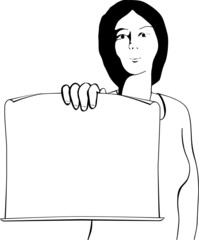 A woman with sheet of paper