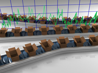 Triple row production line with graph