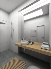 3D render modern interior of toilet