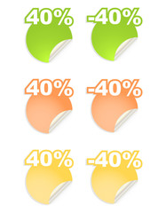 vector stickers with text  percent