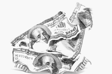 Rampled Dollar banknotes