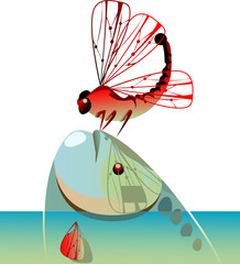fish and dragonfly