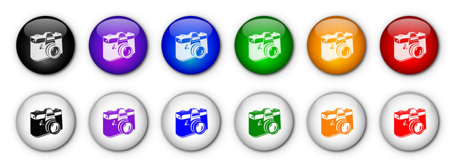 Photo Camera Buttons (rainbow colours)