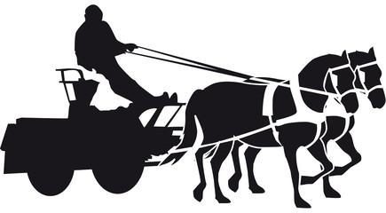 kutsche mit Pferd und reiter