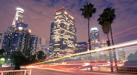 Printed roller blinds Los Angeles Traffic through Los Angeles (traffic seen as light trails)