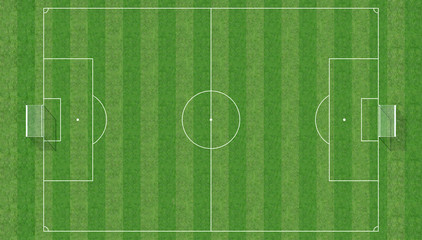 Top view of a soccer field -3d rendering