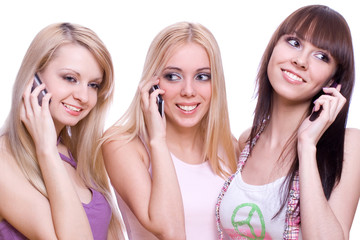 three girls with phone