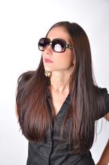 brunette model with sunglasses
