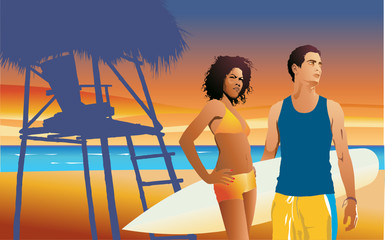 illustration of young couple on tropical beach at sunset