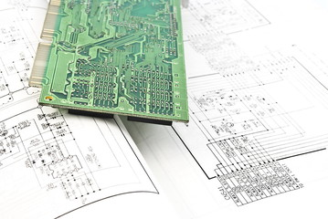 Obraz Electronic circuit plate and schematic diagram - fototapety do salonu