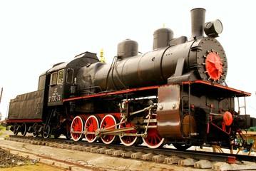 Steam locomotive standing like monument