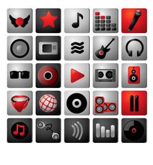Music icon archive. Black white red coloristics