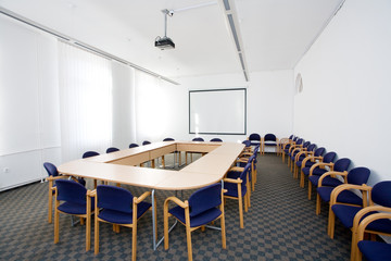 empty small classroom or meeting room with shallow dof