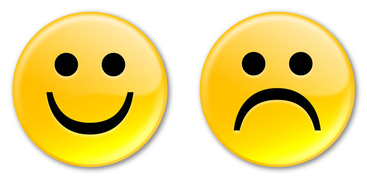 Happy & Sad Smiley Buttons