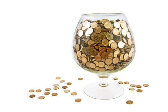 glass with money