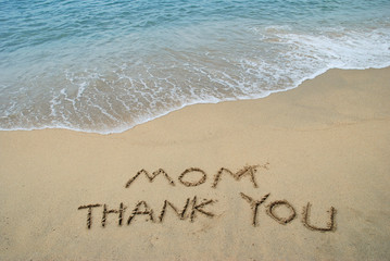 Thanks Message to Mom left in the sandy beach