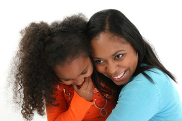 Wall Mural - African American Mother and Daughter Hugging