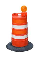 Isolated orange road barrel