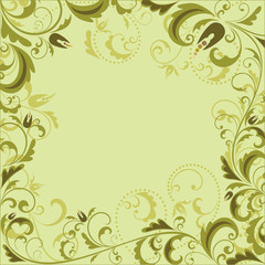 Vintage floral green frame