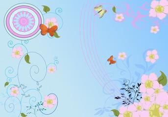 fond avec papillons