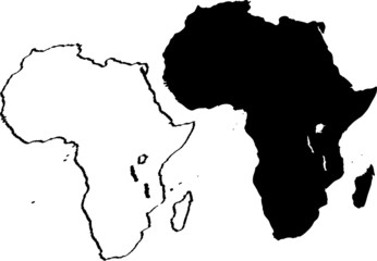 Grunge black and white map of Africa vector illustration
