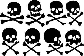 Various pirate skulls and crossbones vector illustration