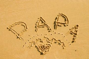 papa dans le sable
