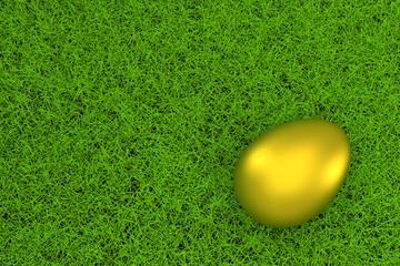 golden easter egg on green grass background