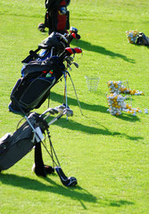 Golf equipments on a golf course