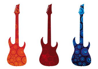 Three vector electric guitars silhouettes.