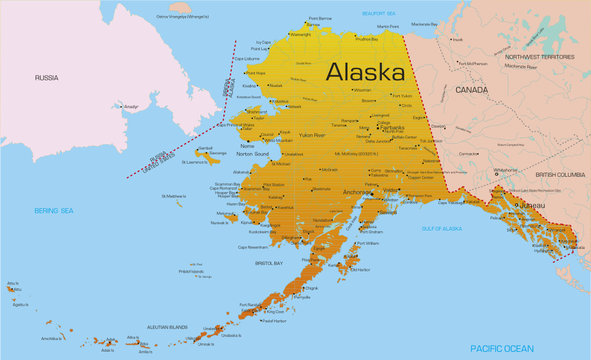 Vector color map of Alaska state. Usa.