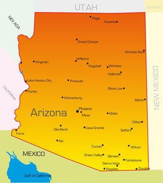Vector color map of Arizona state. Usa