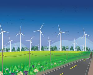 Wind turbine farm vector illustration