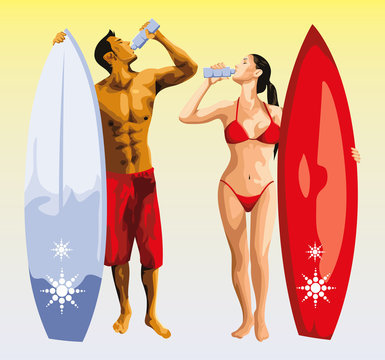 surfer man and girl drinking