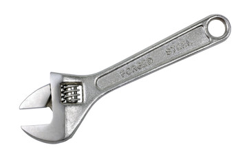 Adjustable metal wrench isolated on the white background.