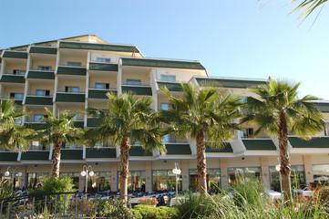 Hotel main building with open air restaurant, Antalya, Turkey