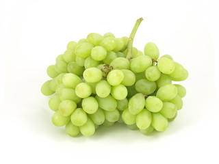 Green grapes on white isolated background.