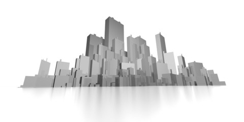 wide abstract skyline 3d