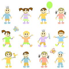 set of cartoon children vector