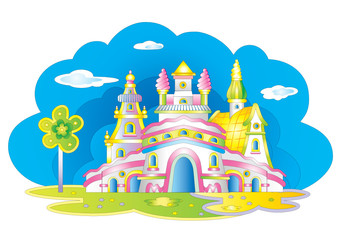 Vector magic castle. A fairy tale.