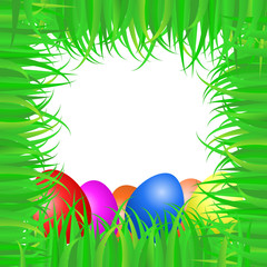 Easter frame made of green grass and colof eggs
