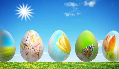 Colorful easter eggs in nature