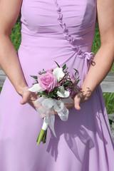 purple dress and flowers