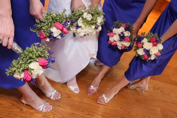 wedding party bridesmaid with flowers and shoes